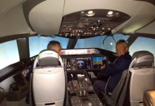 Egidio Reali In the cockpit of the Boeing 787 Dreamliner @Boeing Factory in Seattle.