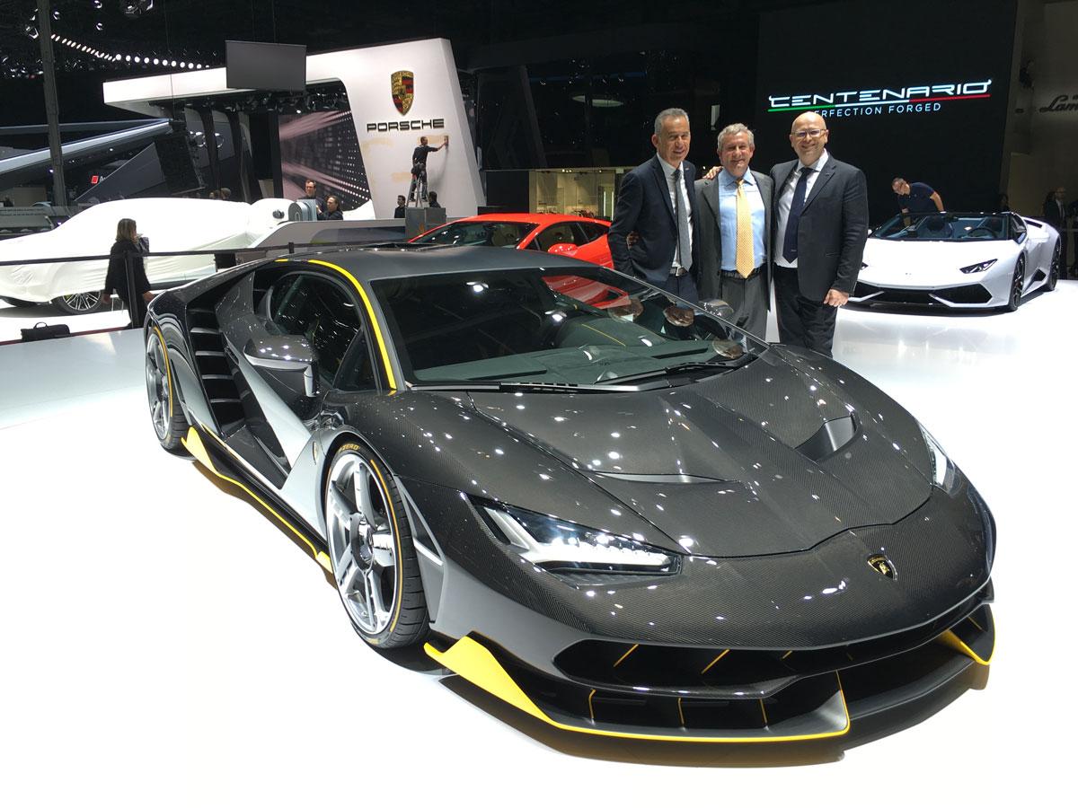 Egidio Reali with Maurizio Reggiani and Lamborghini, head designers of Lamborghini Centro Stile.