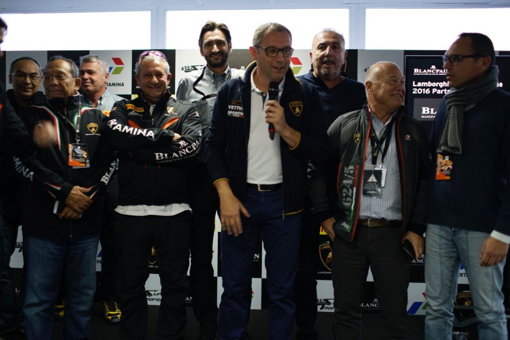The final podium with Stefano Domenicali, Egidio Reali and all the other main sponsors of Blancpain Lamborghini Super Trofeo 2016.