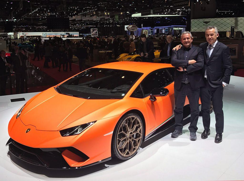 Egidio Reali with Maurizio Reggiani, head designer of Lamborghini.