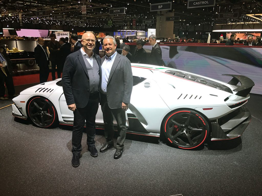 Egidio Reali with Filippo Perini, head designer of Italdesign.