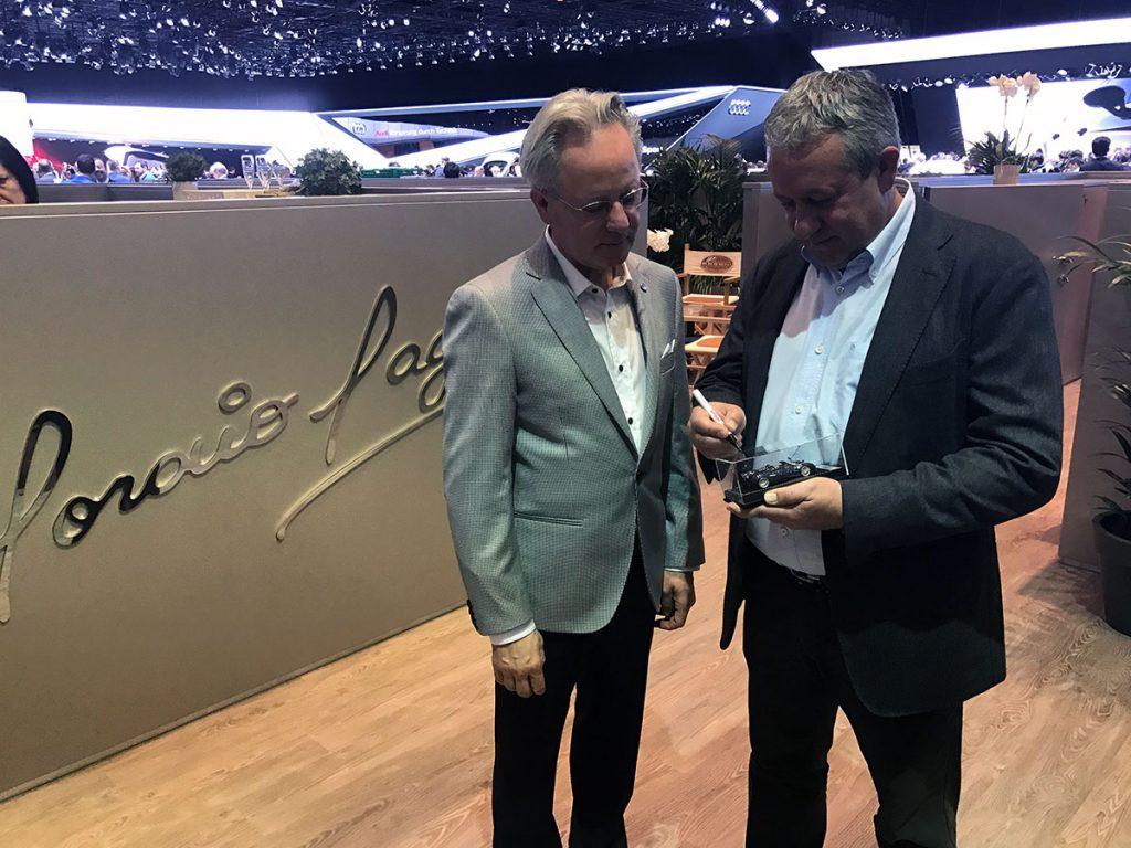 Egidio Reali with Horacio Pagani, CEO and founder of Pagani Automobili.